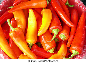 Red and yellow hot peppers.