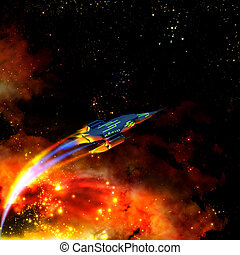 red-hot spaceship and nebula - The red-hot spaceship is...
