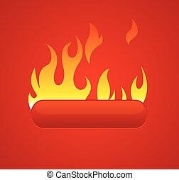 Red Hot Web Button Vector