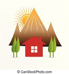 Red house and landscape vector icon