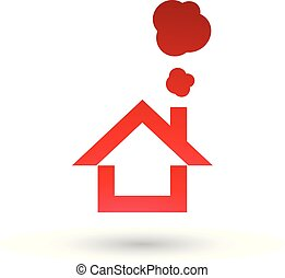 Red House and Smoke Icon Vector Illustration