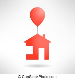 Red house flying on a balloon. Vector