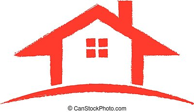 Red House hand drawn. Vector graphic design