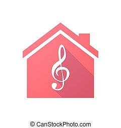 Red house icon with a g clef