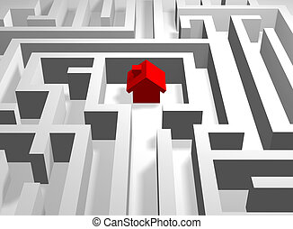 red house in labyrinth - 3d red house in the centre of...