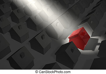 Red House in Spotlight - residential estate in grey - red ...