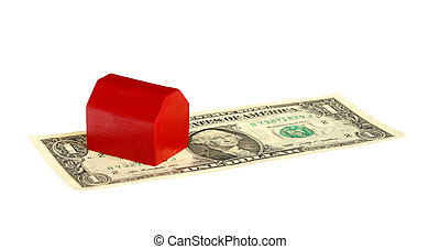 Red house on banknote.