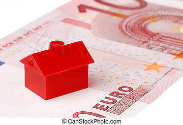 Red house on ten euro banknote