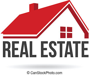 Red house real estate image. Vector icon