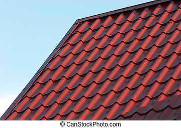 Red house roof closeup