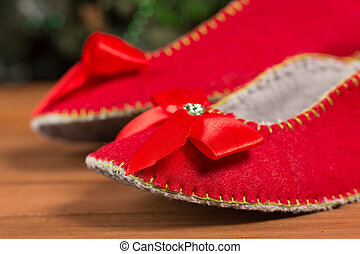 Red house slippers - Christmas house slippers on the floor ...