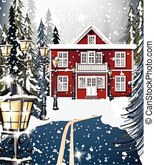 Red house Winter snowy background fir trees. Road in the middle of the forest. Vector illustrations