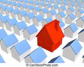 Red house with row identical houses - Red 3d house with row ...