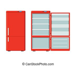 Red household appliances fridge open and closed isolated on white background. Electronic device refrigerator. Home appliance freezer vector illustration.