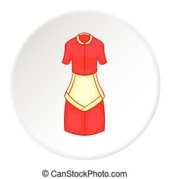 Red housewife dress with apron icon, cartoon style