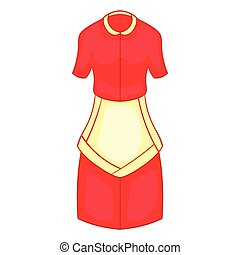 Red housewife dress with white apron icon