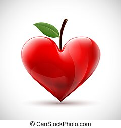 Red human heart with a leaf in the form of a berry.