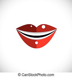Red human lips vector illustration, parts of woman face. Graphic element made in modernistic style.