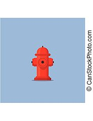 Red hydrant firefighter extinguish the fire icon in flat style isolated on blue background. Vector Illustration