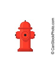 Red hydrant firefighter extinguish the fire icon in flat style isolated on white background. Vector Illustration