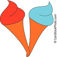 Red ice cream, vector or color illustration.