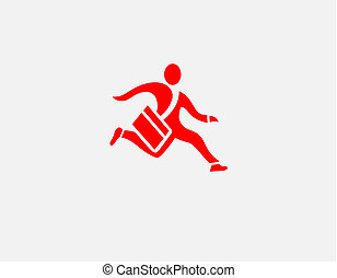 Red icon logo silhouette of a running man with a bag delivery postman for your company