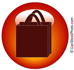 red icon or button for shopping bag
