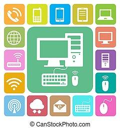 red, iconos, móvil, set., dispositivos, conexiones, ilustración de la computadora
