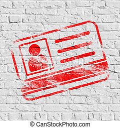 Red ID Card Icon on White Brick Wall. Grunge Background....