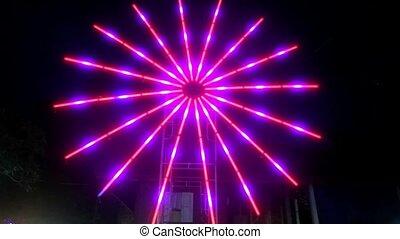 Red, illuminated colorful star on night market. HD. 1920x1080