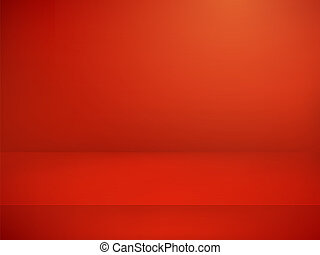 Red illuminated stage. Vector illustration. Advertising template