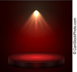 Red illuminated with spotlight stage with round podium
