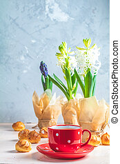 Red in white dotted cup of tea, profiteroles and hyacinths