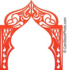 Red indian Arch isolated on white background. Cut. Design...