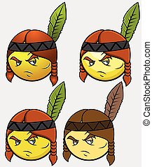 Red Indian Emoticon Set