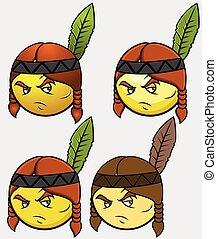 Red Indian Emoticon Set