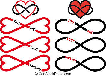 never ending love, red hearts with infinity sign, vector design elements set