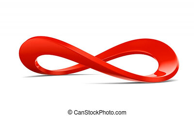 Red infinity sign on white background. 3D render