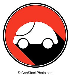 red information icon - white cute rounded car