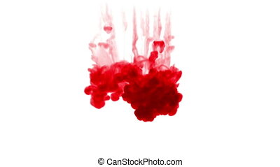red ink dissolves in water on white background with luma matte. 3d render of computer simulation. Ink volleys as a wall of ink 1