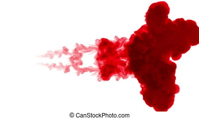 red ink dissolves in water on white background with luma...