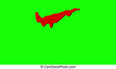 Red Ink Dripping Over Green Screen Background
