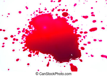 Red ink drops on a white background.