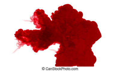 red ink inject in water on white background. 3d animation...