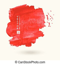 Red ink paint spots. Drops texture isolated on white background.