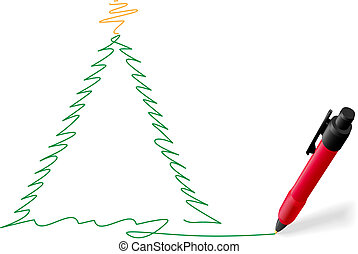 Red ink pen writing Merry Christmas tree drawing