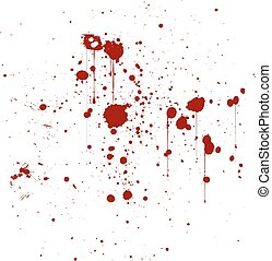 Red ink splatter background, isolated on white.