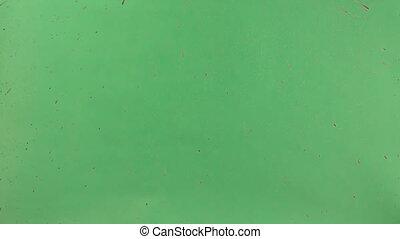Red Ink Sprinkled Over Green Screen Background - Red ink...