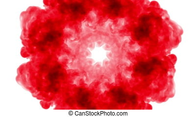 red Ink trickle dissolves in water in slow motion isolated...