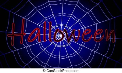 red inscription halloween stuck, swinging on a concentric...